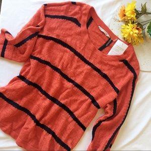 Soft Surroundings Venice sweater in orange & navy